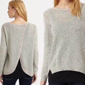 Rebecca Taylor Open Back Grey Cotton Linen Sweater